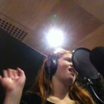 Emily Gray in the studio - Voice of Sarah Sloane