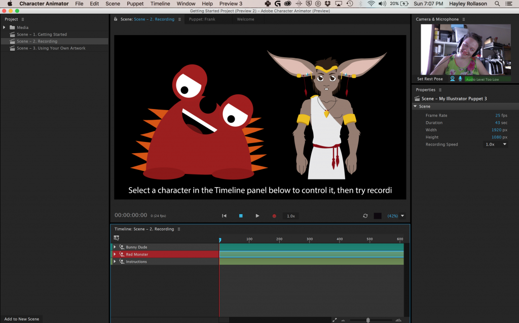 Adobe Character Animator in action. Using my webcam to animate Red Monster.