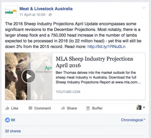 Native Facebook posting of April 2016 Sheep Projections