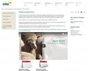 MLA webite with posting of April 2016 Sheep Projections