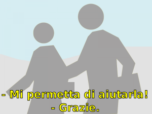 Example of the classic yellow subtitles in Italian